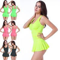 VS013 2017 Women Beachwear Swimsuit Skirt Halter Strappy Swimwear Summer Bathing Suits Ladies Swim Wear Beach Dress