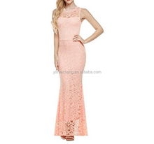 Backless pink round neck top lace pattern beautiful evening dress manufacturer