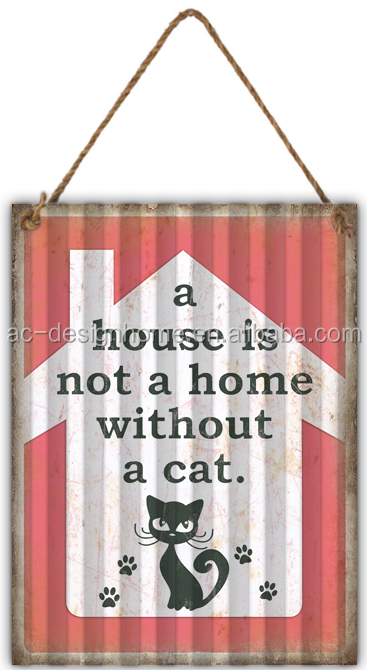 """CAT"" CORRUGATED IRON WALL DECOR"