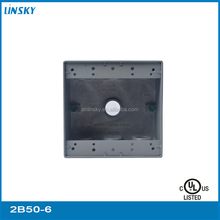 "ul aluminium waterproof weatherproof distribution box 6 outlet holes 1""hole 18.3 cubic inch outlet box 2 gang distribution box"