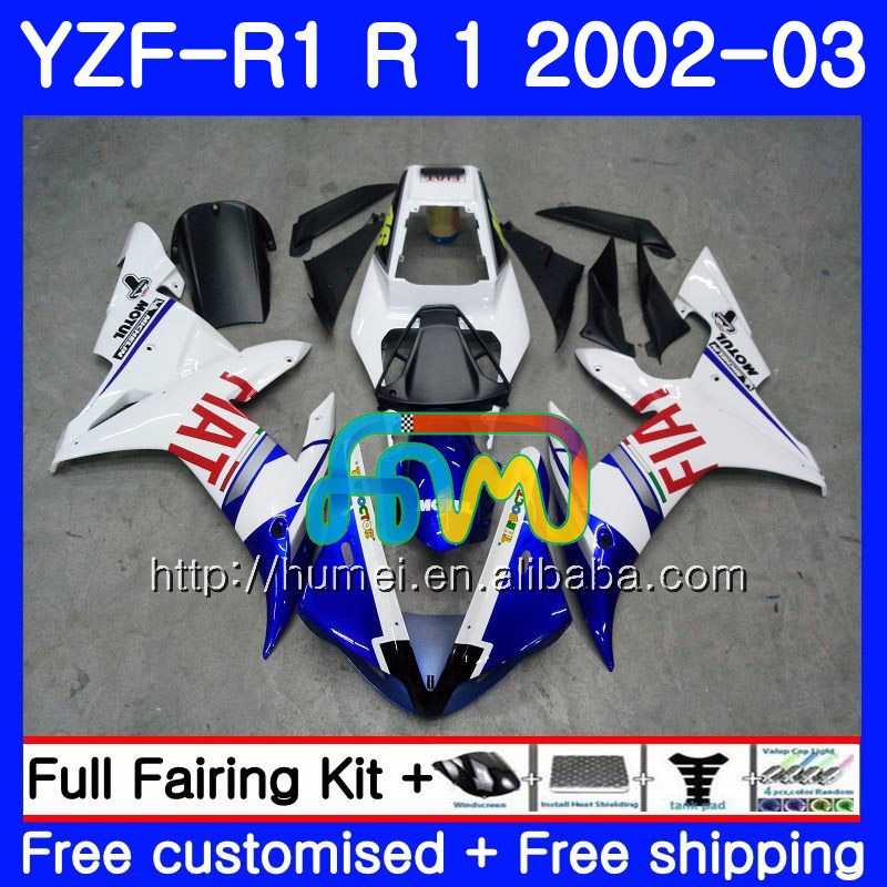 Body For YAMAHA YZF 1000 YZFR1 <strong>02</strong> <strong>03</strong> white blue YZF-1000 Bodywork 99HM3 YZF R 1 YZF <strong>R1</strong> <strong>02</strong> <strong>03</strong> YZF1000 YZF-<strong>R1</strong> 2002 2003 <strong>Fairing</strong>