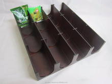 New style wooden tea bag box, MDF meterial with lacquered brown color