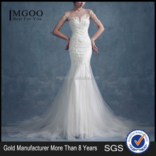 MGOO New Arrival Floral Sheer Neck Long Sleeves Floral Mermaid Wedding Dress Handmade Lace Derss Material 2073