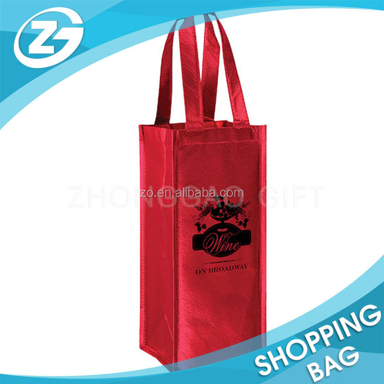 CUsotm red green silver gold foil metallic non owven wine tote bag