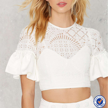 new arrival ruffled short sleeves lace custom blank crop tops wholesale cheap
