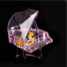 Fancy design crystal music box musical mini piano crystal crafts for wedding souvenirs