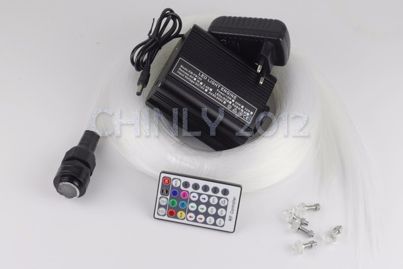 16W RGBW RF 28Key Remote LED Fiber Optic Engine +4m*(0.75mm*250pcs+1.0mm*70pcs+1.5mm*15pcs) End Glow Optical Fiber Kit