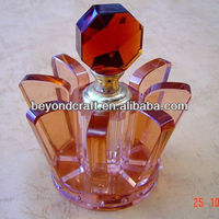 handmade antique crystal perfume bottle with lotus design
