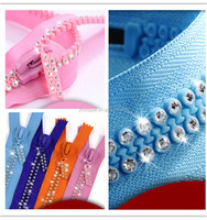 Shiny Durable Diamond Rhinestone Plastic Zipper for Women Dress