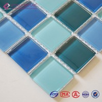 Cheap blue crystal glass mosaic tile for swimming pool