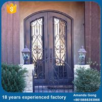 Customized Wrought Iron And Glass Door Front Doors