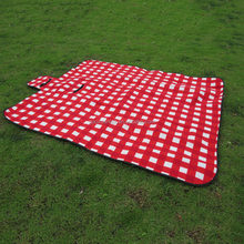 Nylon oxford/2mm sponge/printed fleece plaid 3 layers picnic camping blanket rug mat picknick decke