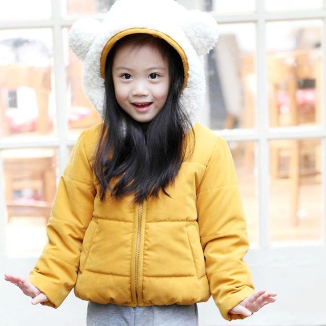 MS50233A cute bear design kids coat with big hoody