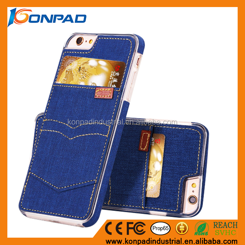Card Slot Series Handmade Stitching Denim Case Ultra Slim Back Cover Case for iPhone 7