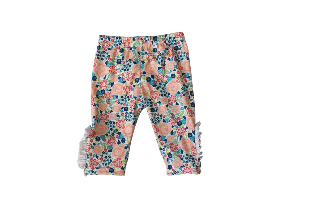 Wholesale Kids Floral Ruffle Leggings New Style Icing Baby Leggings Girls Ruffle Capris Boutique Summer Clothes