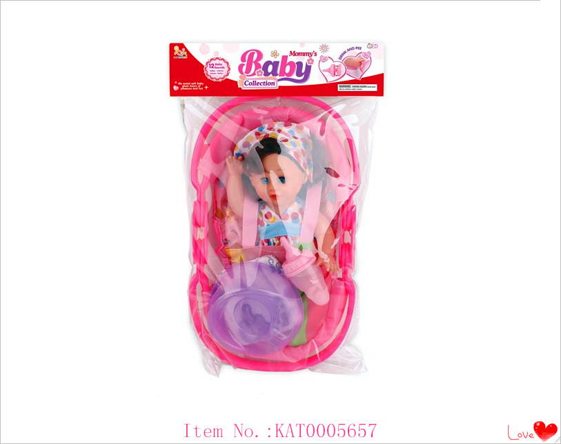 Wholesale Hot Item 12 Inch Real Reborn Baby Doll Toy Mini Pee Doll With Bottle And Cradle