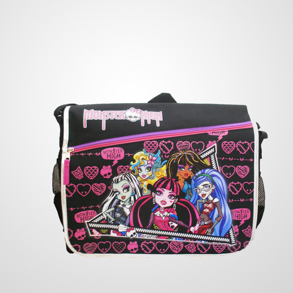 2016 Cheap Fancy school monster high Bag for kids in black Monster High Messenger Bag Good quality Chaumetbag