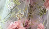 3D embroidered organza fabric with shiffon flower