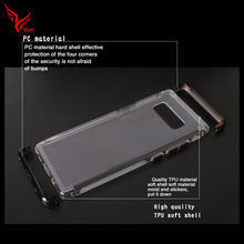 High quality plating PC 3 in 1 transparent crystal tpu phone case for samsung galaxy note 8