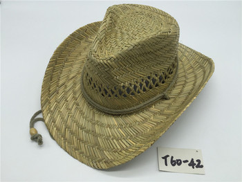 T60-42New Style Summer Cowboy Rush cheap straw cowboy hats For Mens