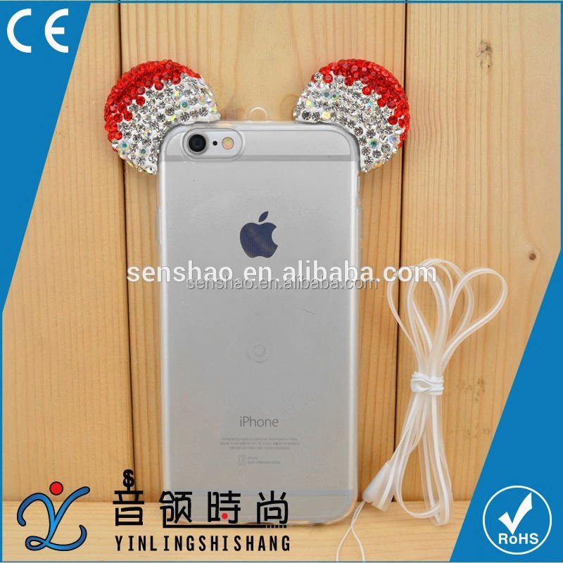 Wholesale OEM Custom TPU Mobile Phone Mickey Diamond Ears Phone Case With Necklace For iPhone/XIAOMI/Vivo/OPPO/Samsung/LG