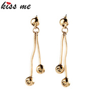 New Ball and Crystal Linear Drop Earrings Oscar Design Gold Brass Metal
