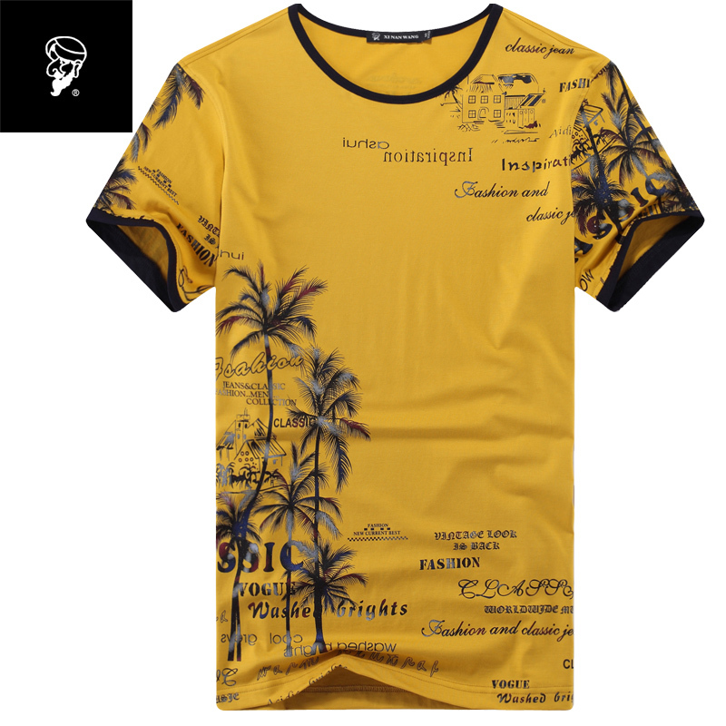 AAW 2015 summer men's cotton printed t-shirt slim round neck shirt fashion short sleeve t-shirts