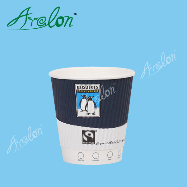 disposable take away ripple wall coffee paper cup with lids