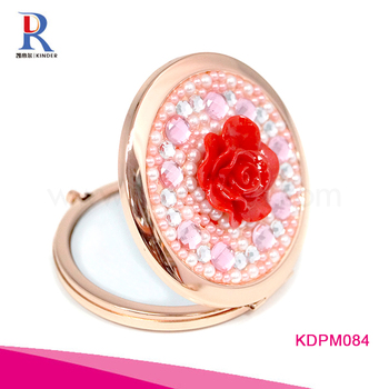 Wholesale Bling Gem Decoration Jeweled Metal Standing Shell Personalised Compact Mirror