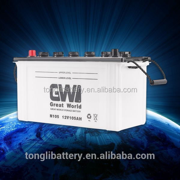 105E41R-105E41L China car battery performance high starting battery