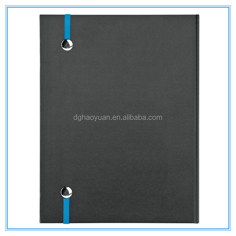 Hardcover note book with die-cut cover and pen,elastic strap for promotion