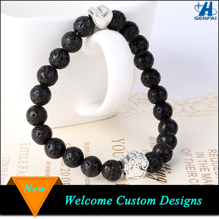 Customized Unisex 8mm Black Lava Rock Aromatherapy Essential Oil Bracelet For Gifts