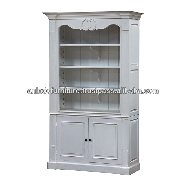 White Painted French Open Bookcase with 2 Doors
