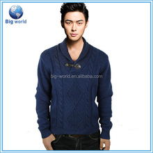 Wool Acrylic sweater lapel design plain pullover men leisure style long sleeve sweater knitted men with good quality hot selling