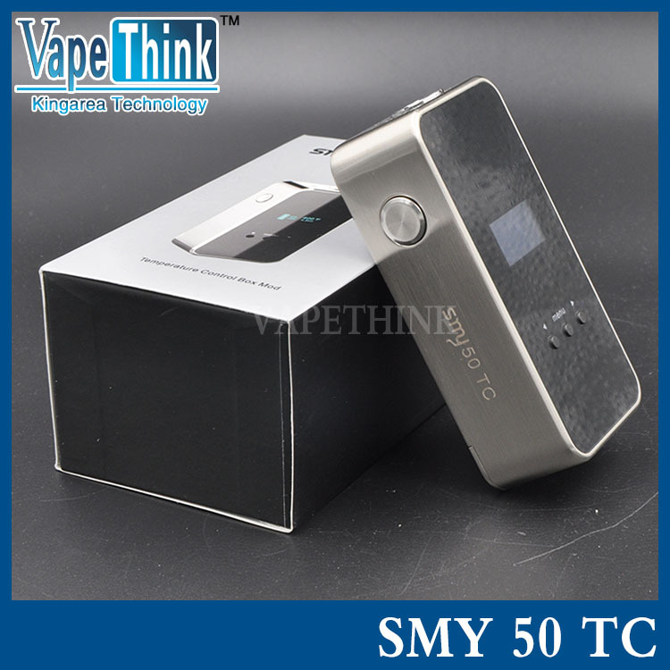 AUTHENTIC SIMEIYUE SMY50TC TEMPERATURE CONTROL VW VARIABLE WATTAGE APV BOX MOD - SILVER, ZINC ALLOY, 5~50W, 1 X 18650 SMY50 TC