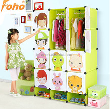 Large capacity portable bedroom wardrobe cabinet colorful kids wardrobe with flexible cubes (FH-AL0744-12)