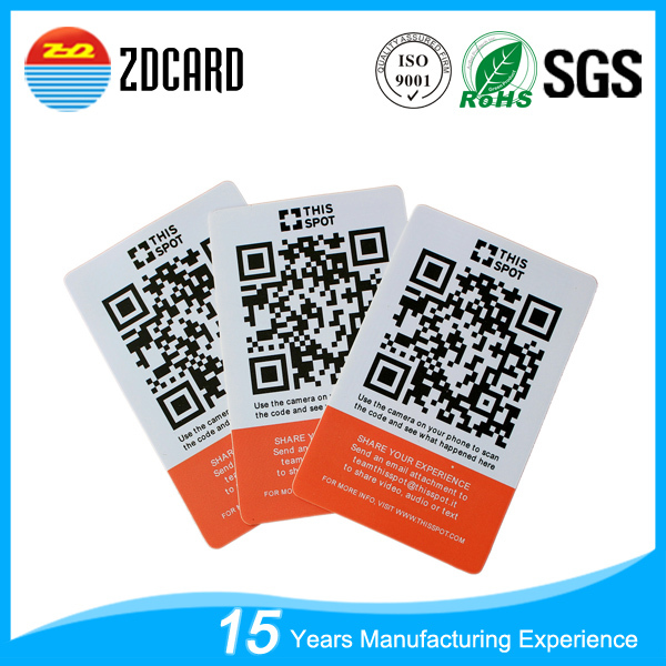 Glossy finish 860-960MHZ pvc rfid smart card with qr code