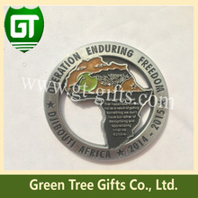 Custom silver-plated metal challenge coin with high 3D effect