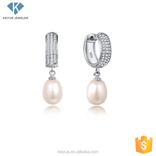 Fashion zirconia pave dangle pearl earring jewelry nickel free picture for women