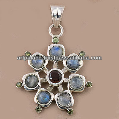 925 Silver Jewelry/Gemstone Silver jewelery pendant with round shape