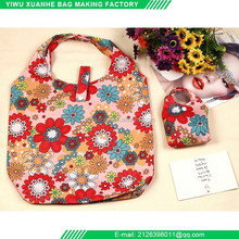 Durable high quality polyester fabric foldable shopping bag for household use