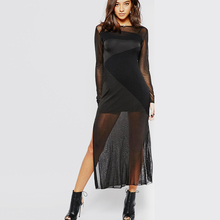 Hot sale fashion design long sleeve high slit women tight mini club dress