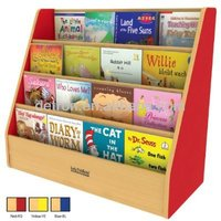 colorful 4 tier customized wood book rack floor display stand