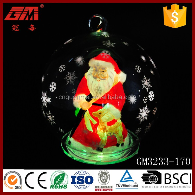 Merry Christmas snowflake glass santa globe