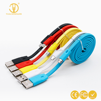 Short Colorful flat usb date cable noodle usb charging data cable for Android Phone