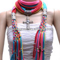 Multi color hand made rainbow color cross pendant jewelry scarf