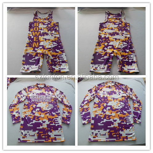 Team sublimated custom wrestling singlet shirts wear