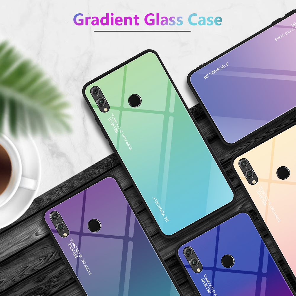New Style Gradient Color Tempered Glass Back Case For HuaWei P20 Honor magic 2 9 lite note 10 8X max 10 lite Psmart 2019