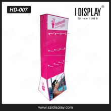 cardboard retail display stand with peg hook for headphone