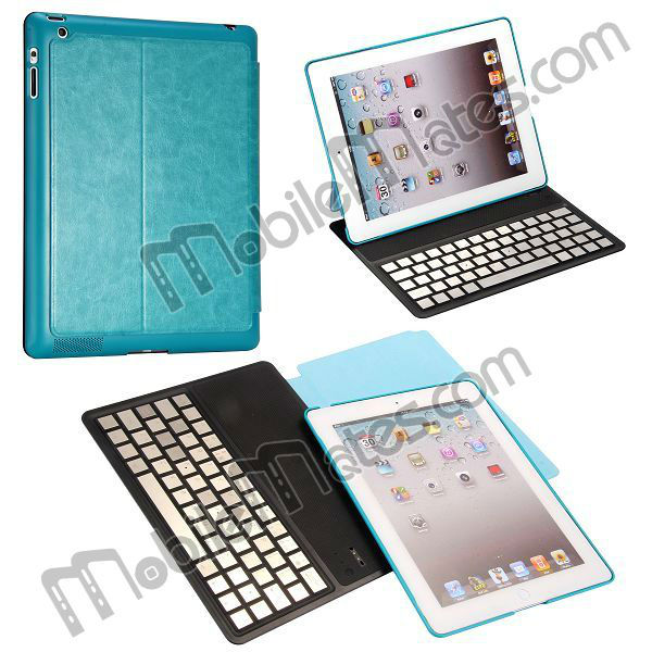 Ultrathin Flip Leather Aluminium Wireless Bluetooth Keyboard Case for iPad 2 the New iPad iPad 4